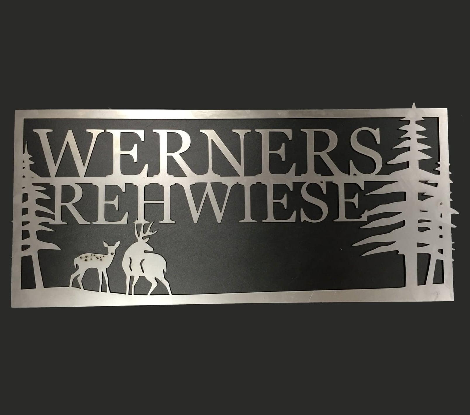 Laser cut custom metal sign