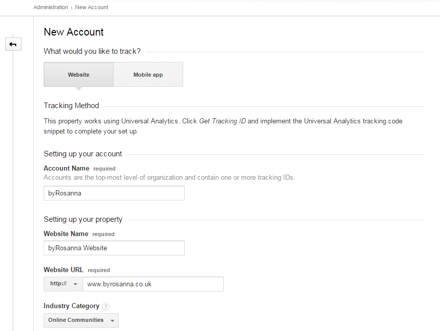 Google Analytics set-up Step 2