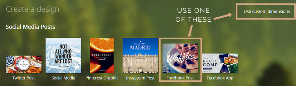 Using Canva to create a Facebook graphic