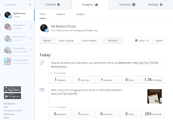 Buffer analytics (social media management made simple)