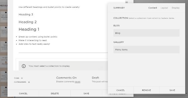 Select 'Blog' as a collection