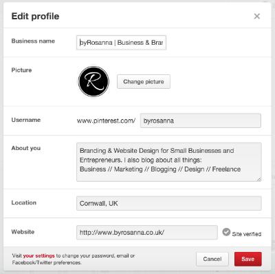 Pinterest profile info