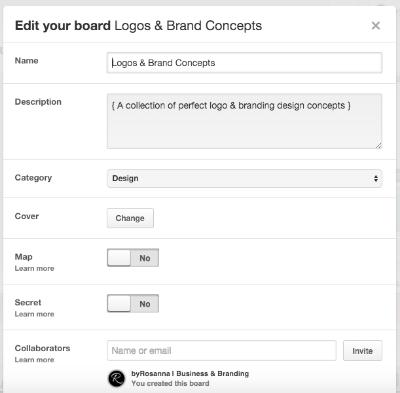 Creating a Pinterest board