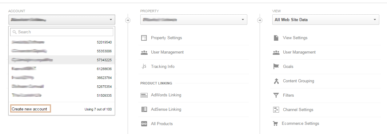 Google analytics set-up step 1