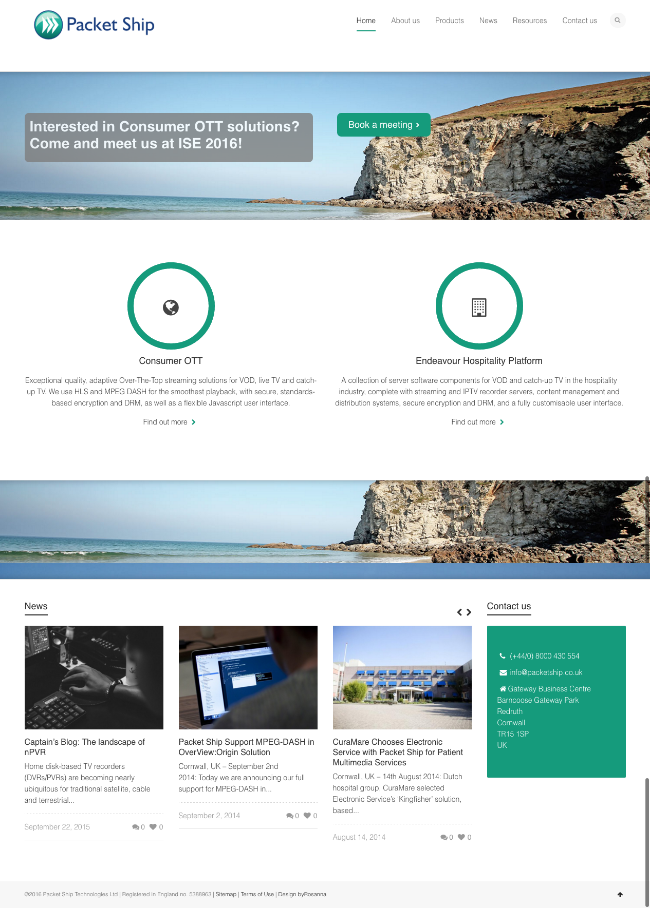 Packet Ship website re-design byRosanna