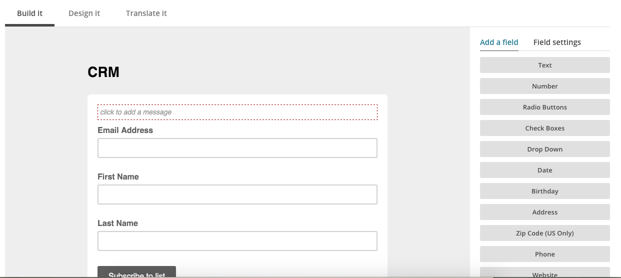 Create a signup form