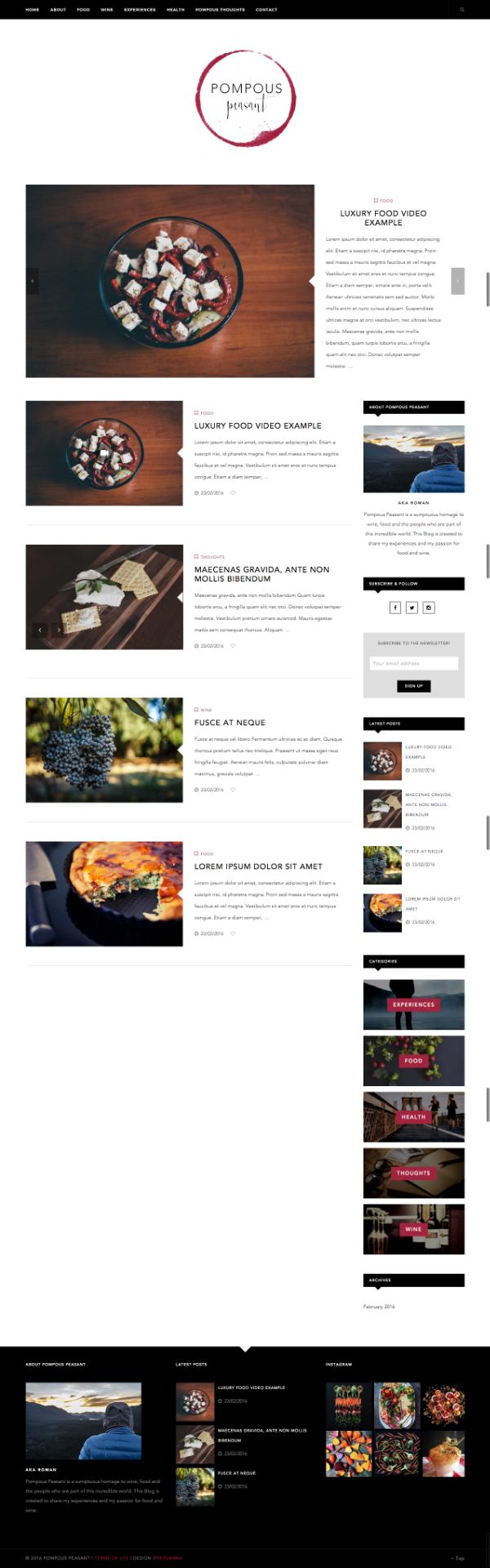 Blog Design for Pompous Peasant