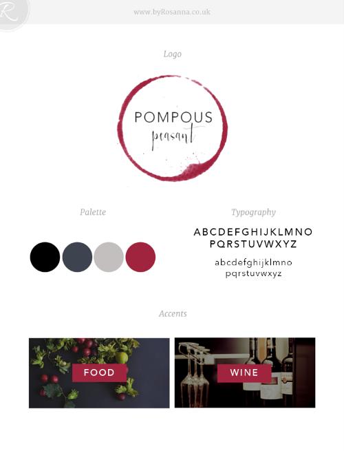 Pompous Peasant brand board (logo, typography & colour scheme)