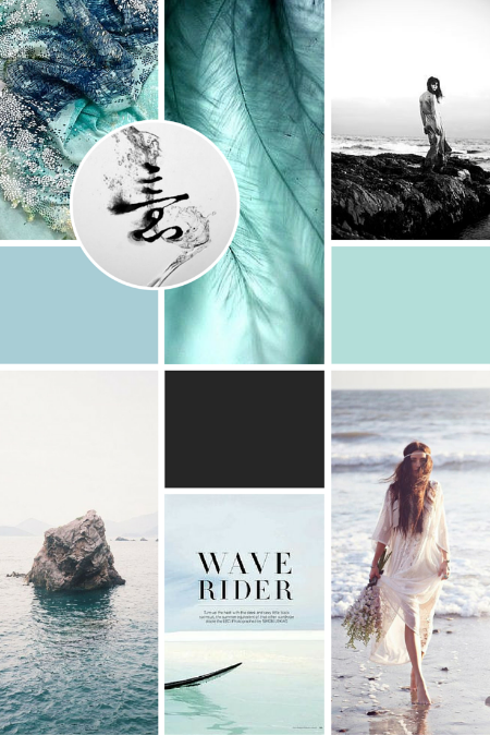 Olivia Bossert's   moodboard contained relaxed, flowing textures and blue, beachy tones, which we then reflected in her logo design!