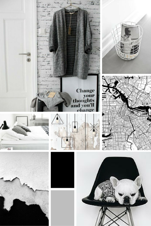 Midweek Moodboard: Minimal Monochrome (black, white and grey colour palette)