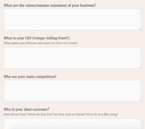 Branding client questionnaire