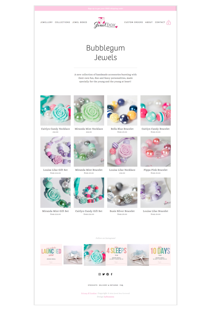 Jewel Box Cornwall; Squarespace website design byRosanna