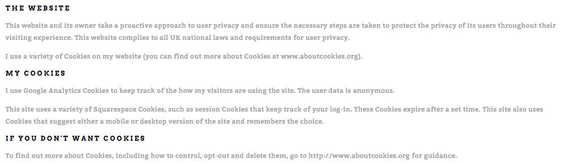 Example of a Privacy/Cookie Policy