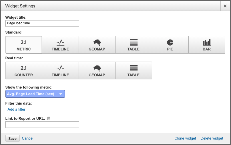 Page load time widget