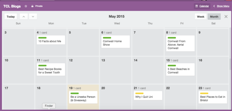 Trello content calendar