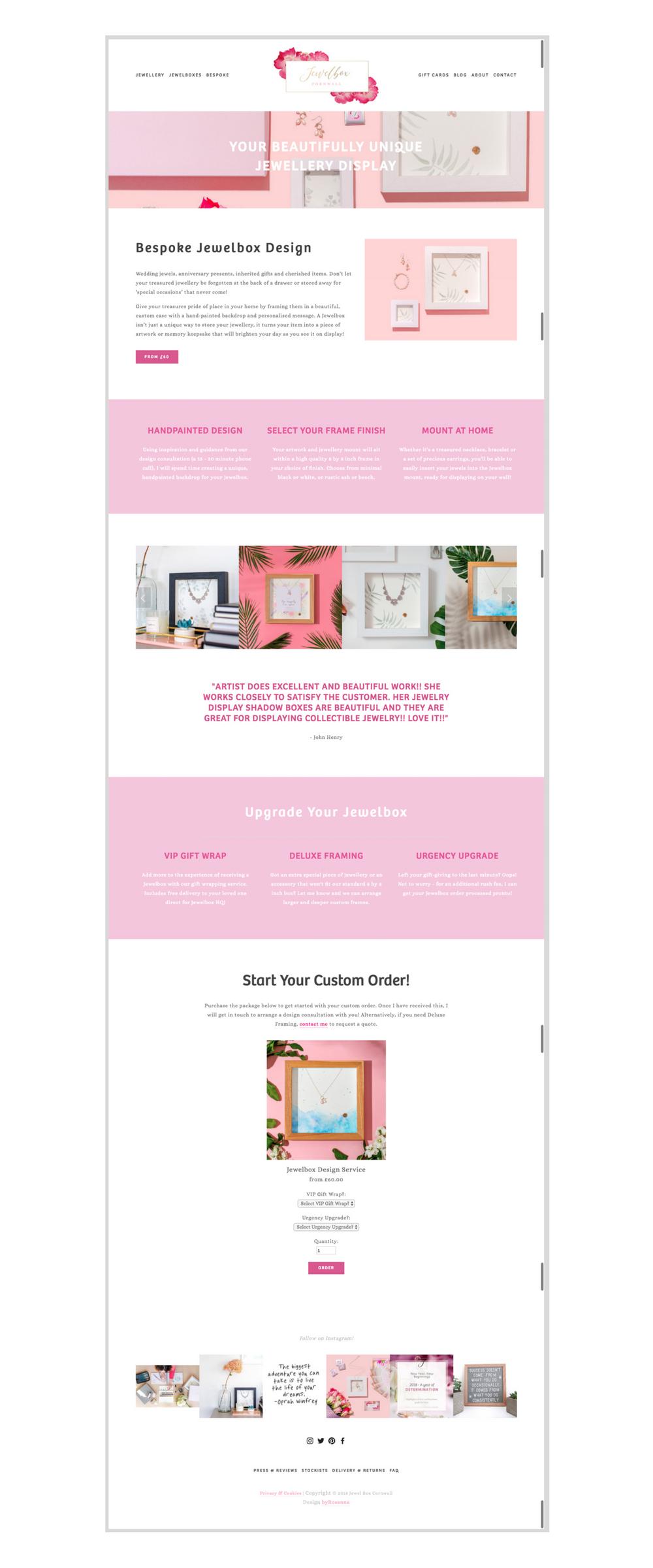 Jewel Box Cornwall Squarespace website design byRosanna