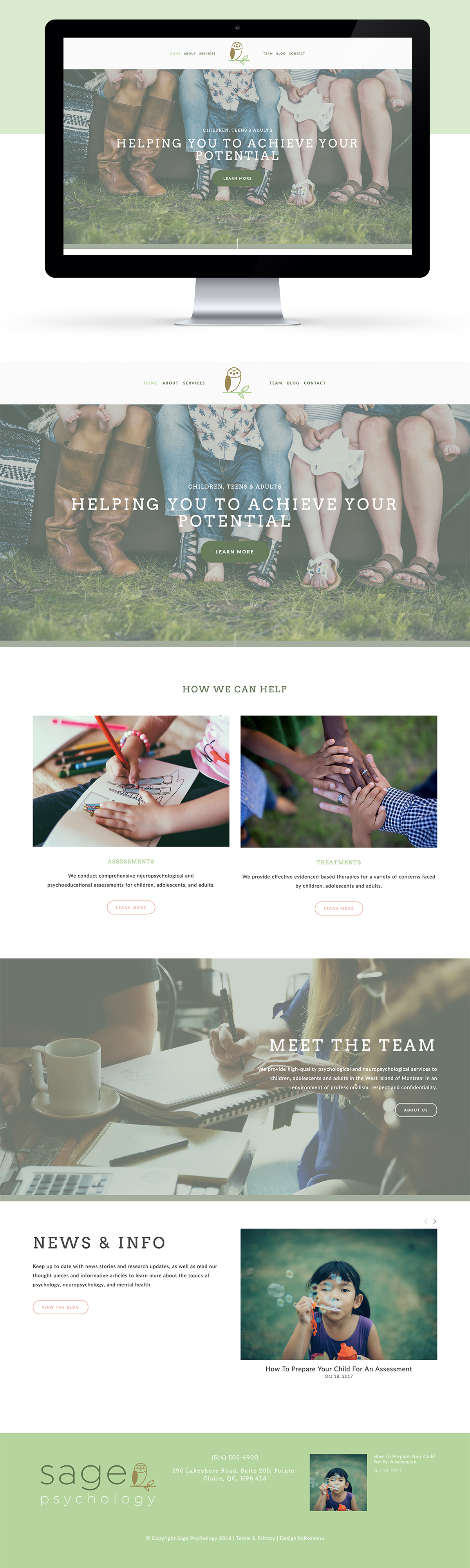 Website design in Squarespace for Sage Psychology