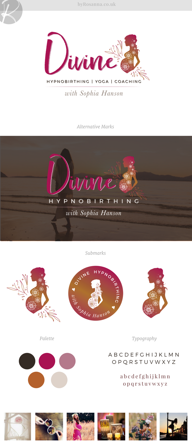 Brand design concept board - feminine and pink