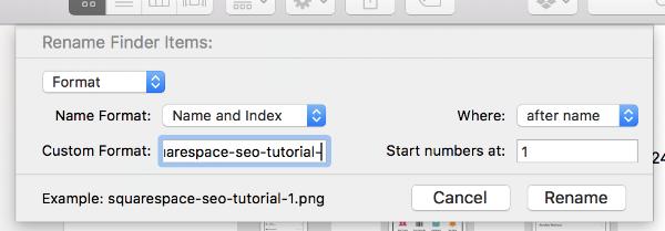 Renaming files in finder