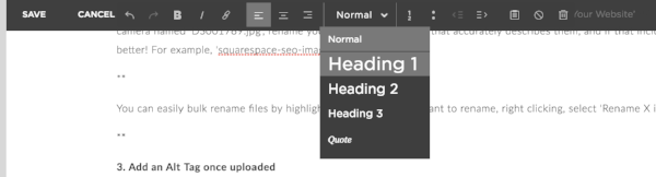 Use headings in Squarespace