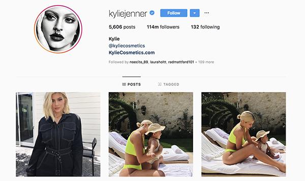 Kylie Jenner influencer on Instagram