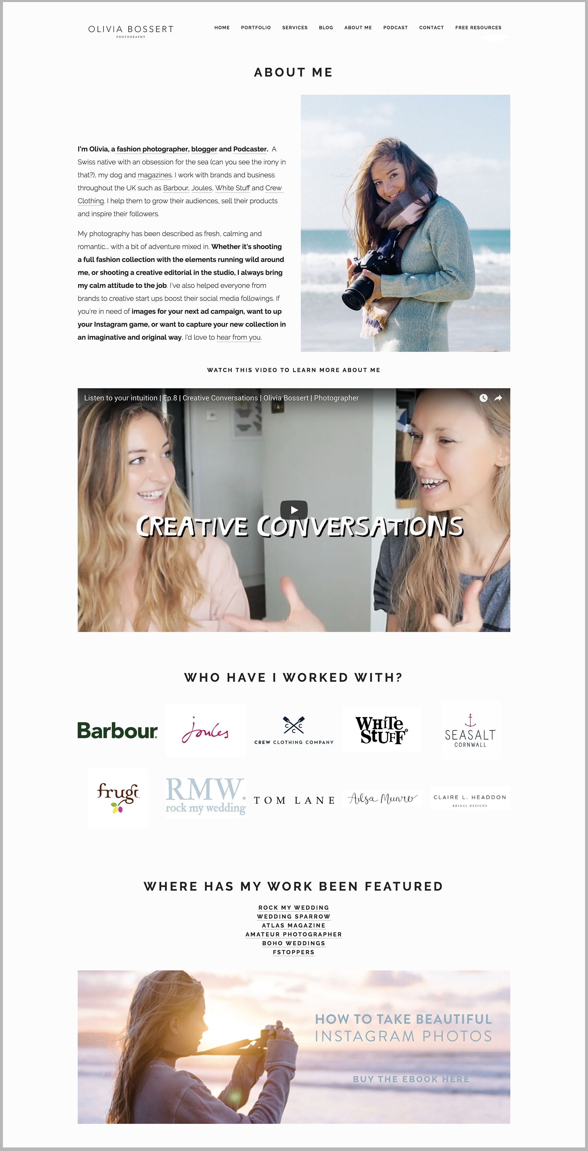 Olivia Bossert  has made her top clients and press features really stand out on her site, and I love how she has used video as well!