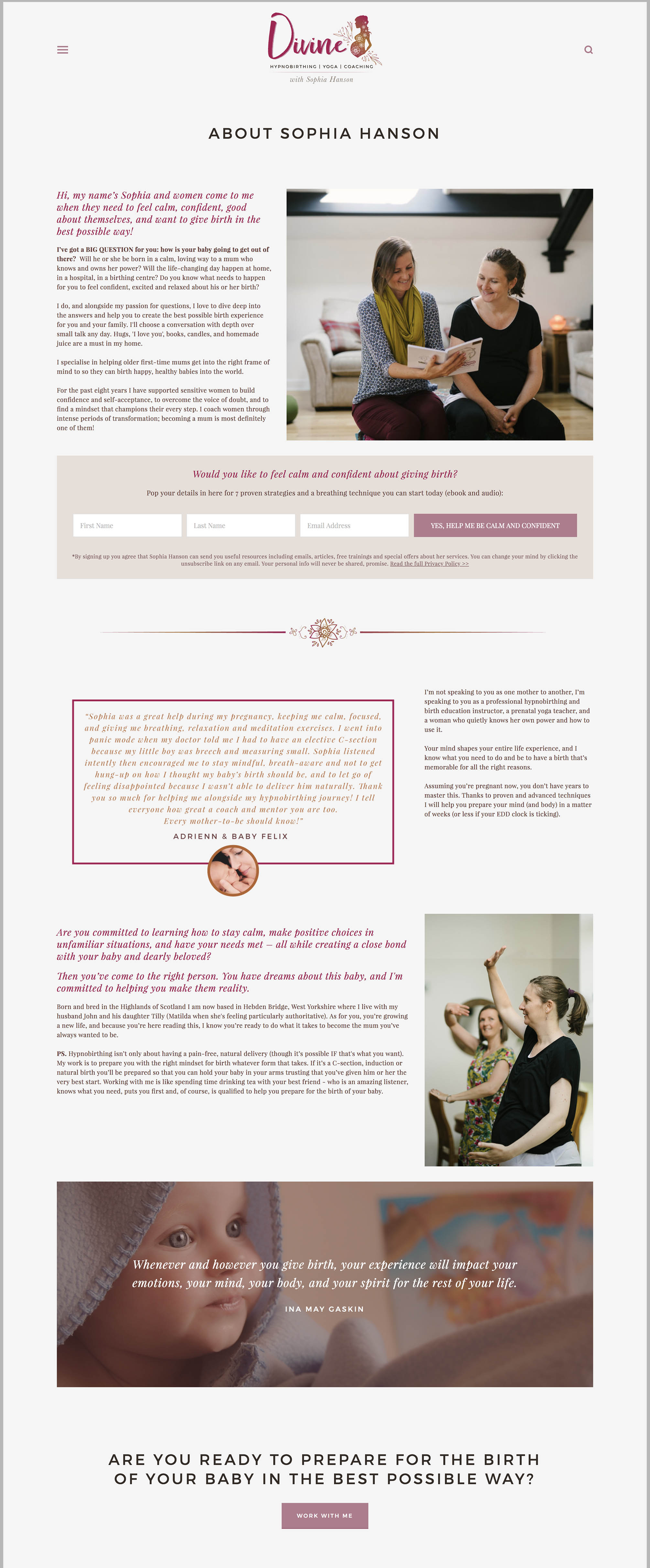 Sophia from Divine Hypnobirthing  has included professional photography of herself and some 'behind-the-scenes' style imagery of her doing her work too.