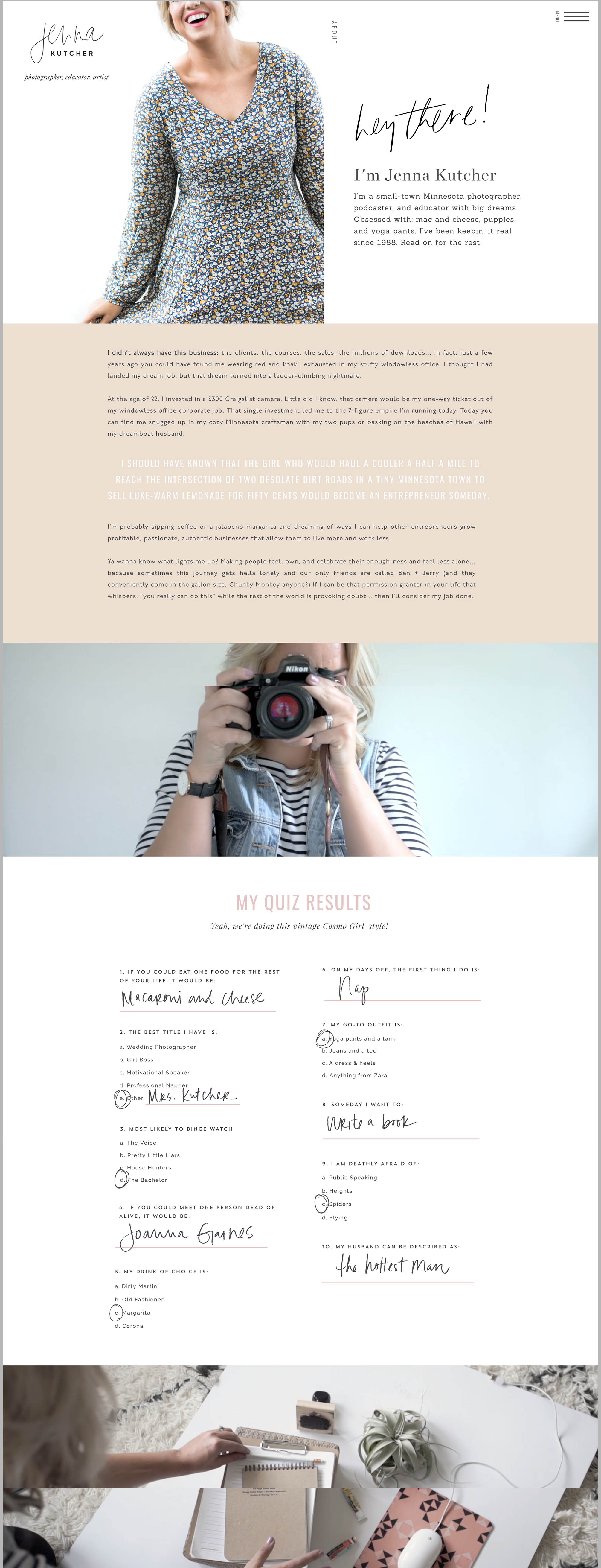 Jenna Kutcher's About page  is so much fun! I love the illustrated 'quiz results' section with handwritten elements - such a great way to make the page more personal.