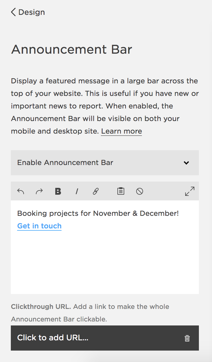 Announcement bar on Squarespace