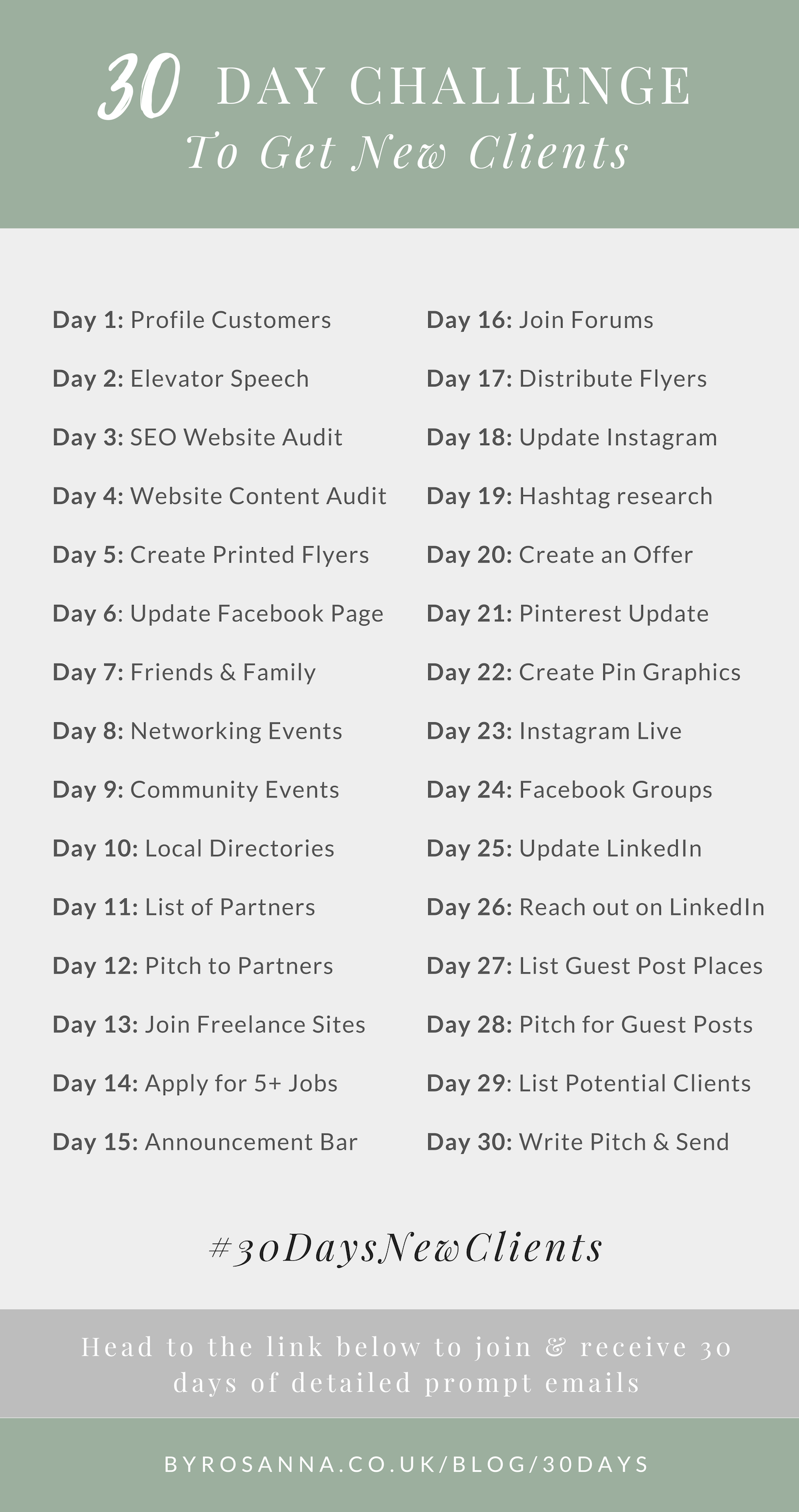 30 Day Challenge to New Clients (for Freelancers and Small Business Owners)