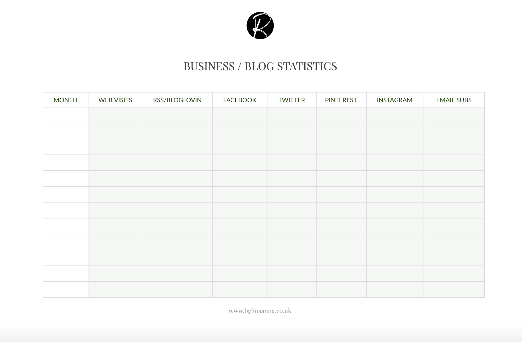 Tracking your blog/business progress worksheet