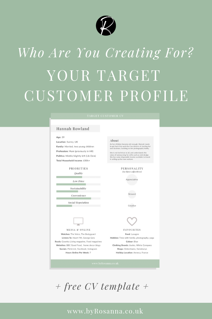 Who are your creating for? Your Target Customer Profile (+ FREE Cv Template)