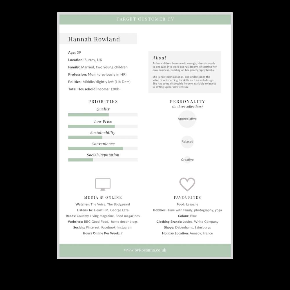 Target Customer CV template