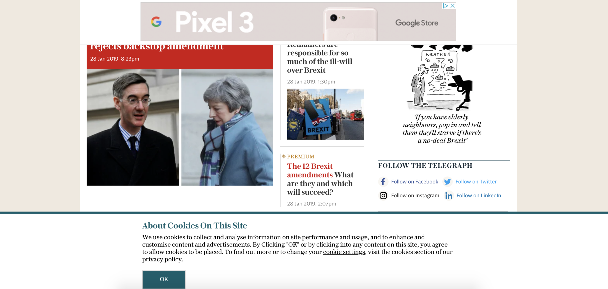 Example of super intrusive cookies banner and overlay ad on the Telegraph website. It looks busy and cluttered, and makes me personally want to bounce straight off!