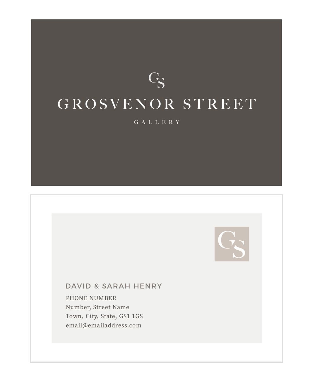 Minimal natural business card design for a gallery brand and logo