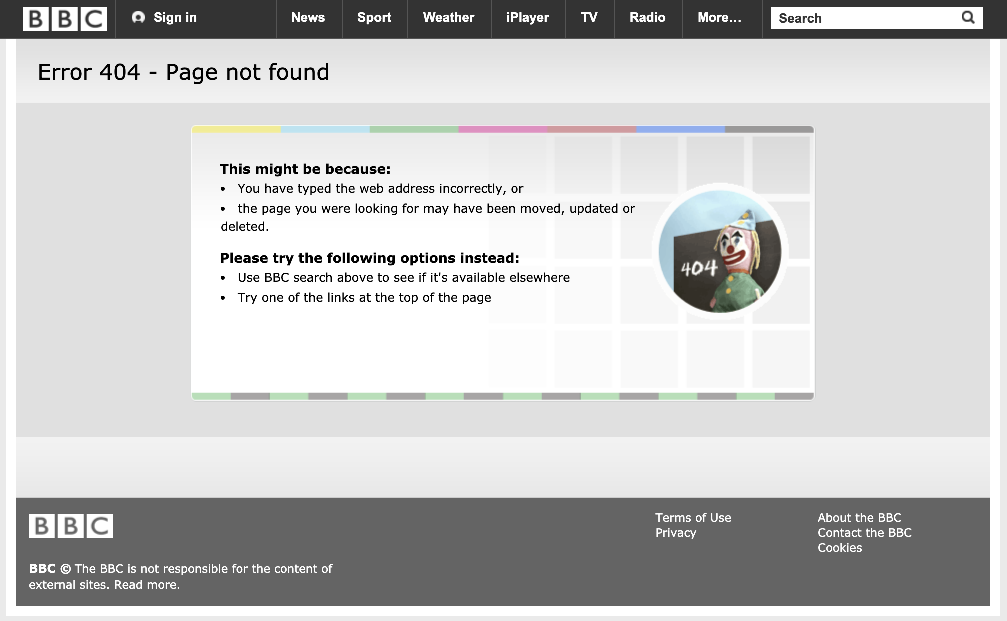 BBC 404 page example