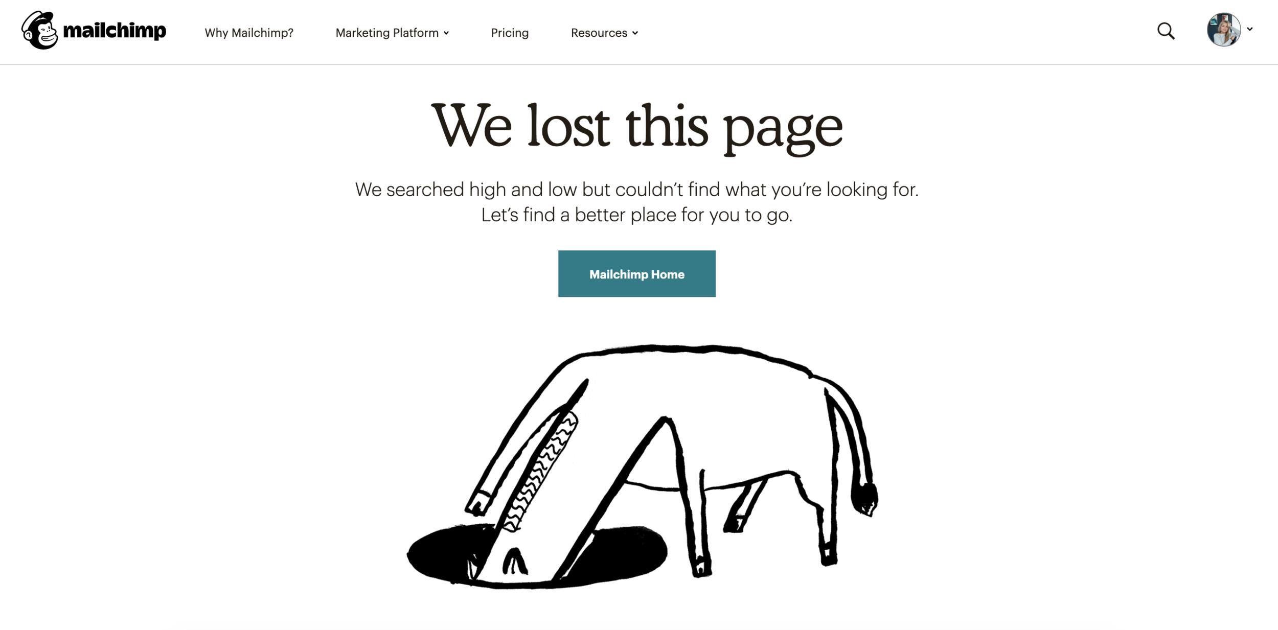 Mailchimp's 404 page
