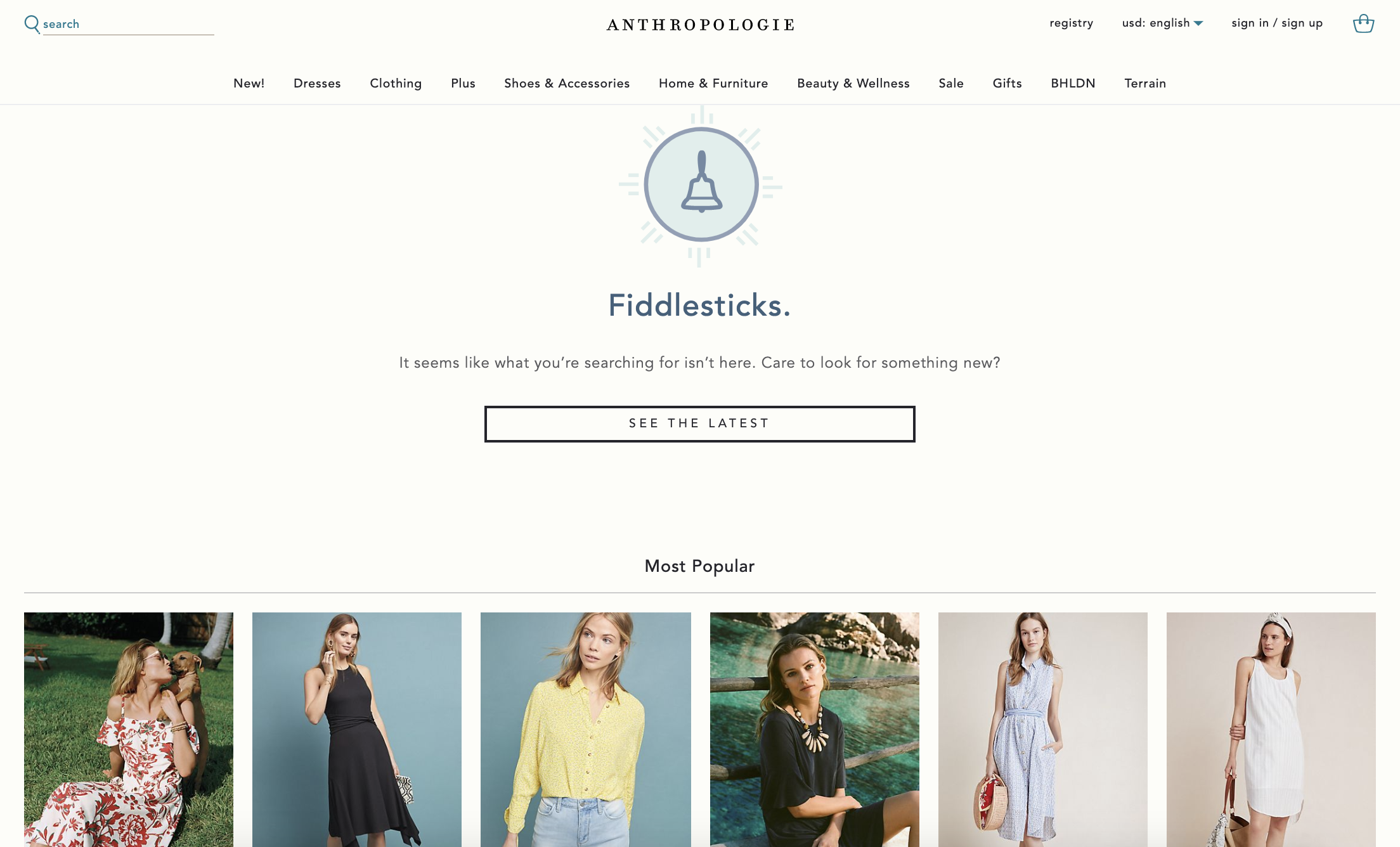 Anthropologie 404 page