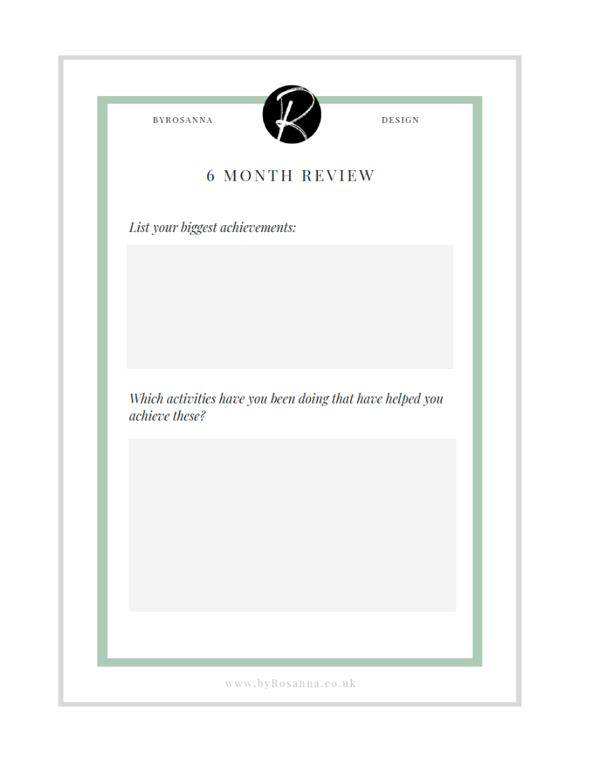 6 month review worksheet