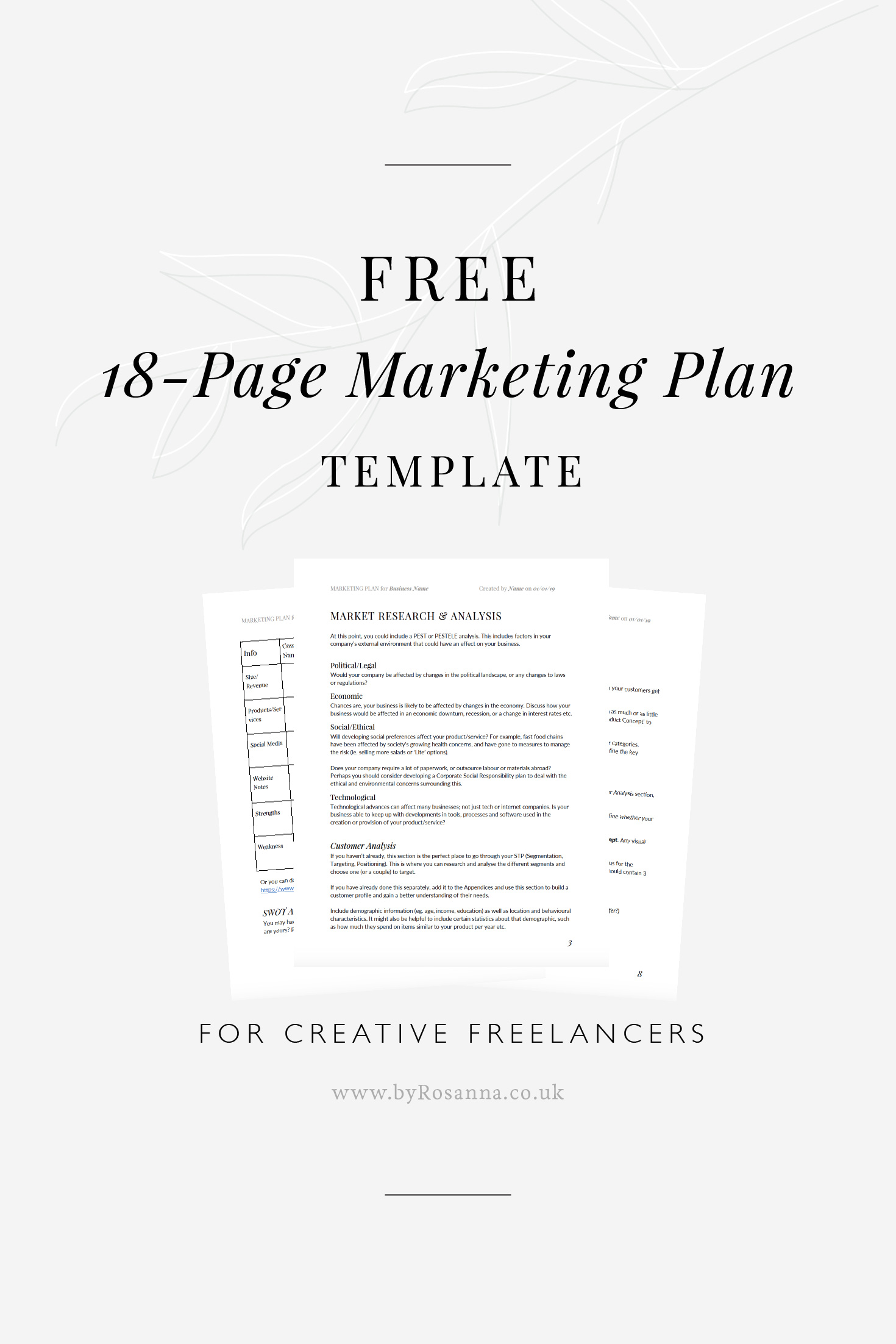 FREE Marketing Template with 19 pages, available to download and use for creative freelancers and small businesses #marketingplan #marketingstrategy #socialmediamarketing