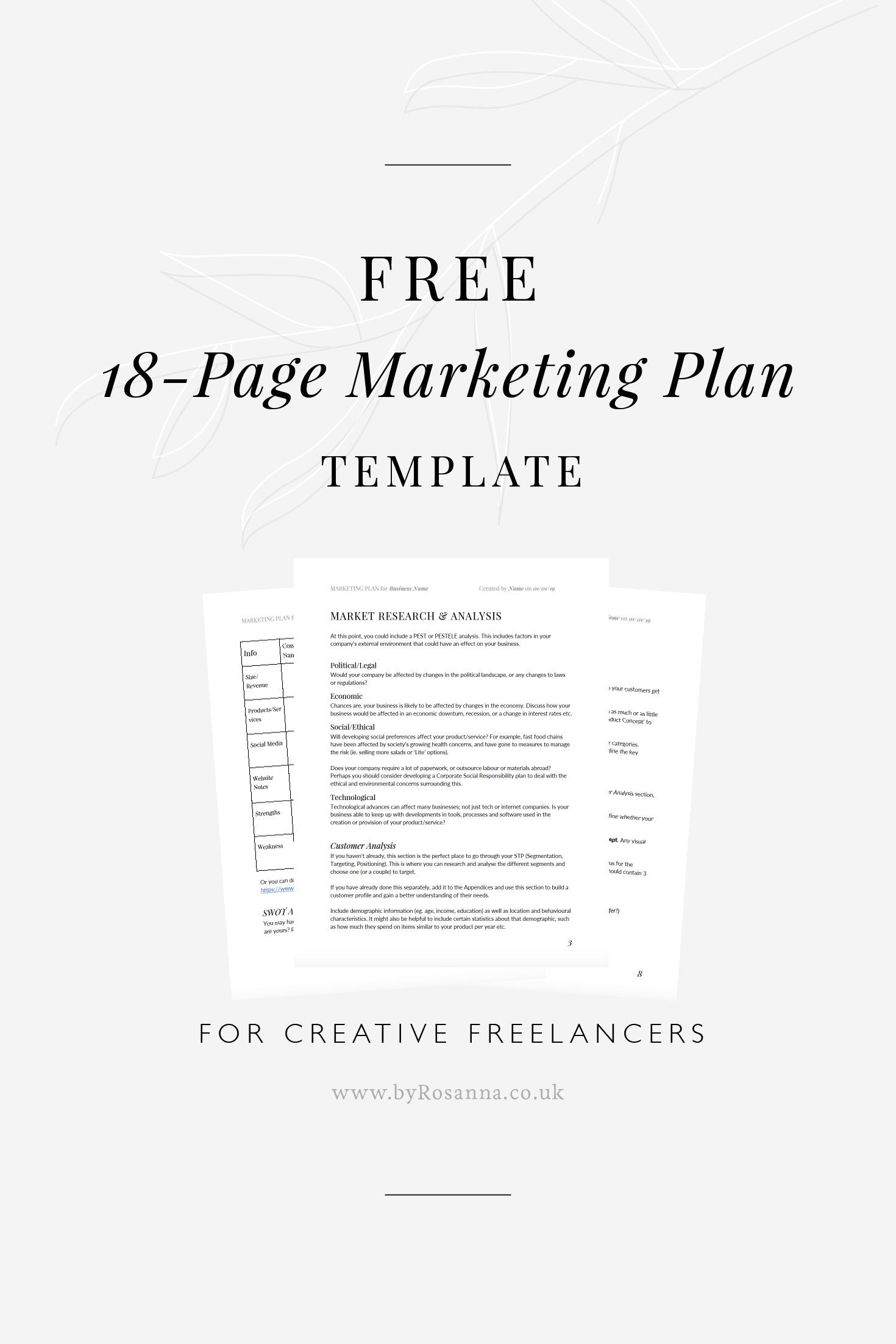 Get A Free Marketing Plan Template Byrosanna Squarespace Website Design Branding Uk