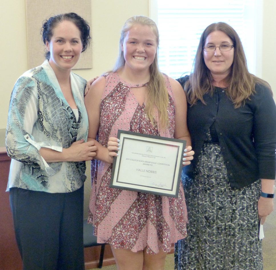 HALLE WITH THE JUNIOR LEAGUE PRESIDENT AND SCHOLARSHIP COMMITTEE CHAIR