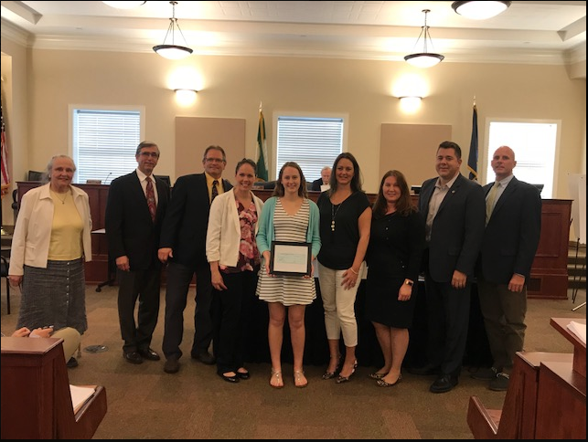 MADELINE RECEIVING THE AWARD WITH THE JUNIOR LEAGUE AND THE VILLAGE OF AMITYVILLE TRUSTEES AND MAYOR
