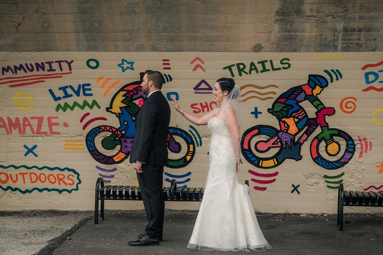Wedding first look in Manayunk Philadelphia