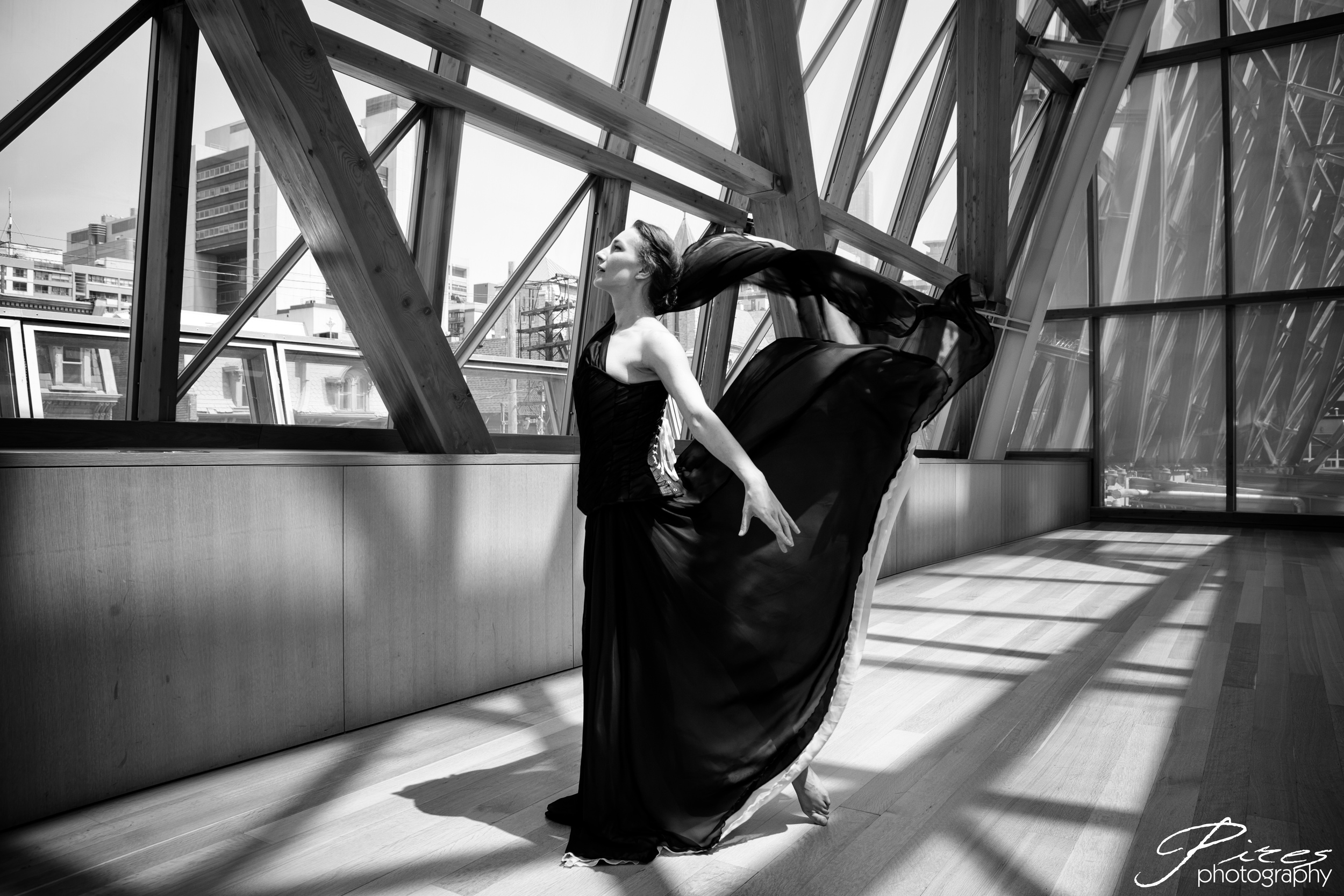 Model and dancer Alayna Kellet at the AGO wearing Starkers Corsetry