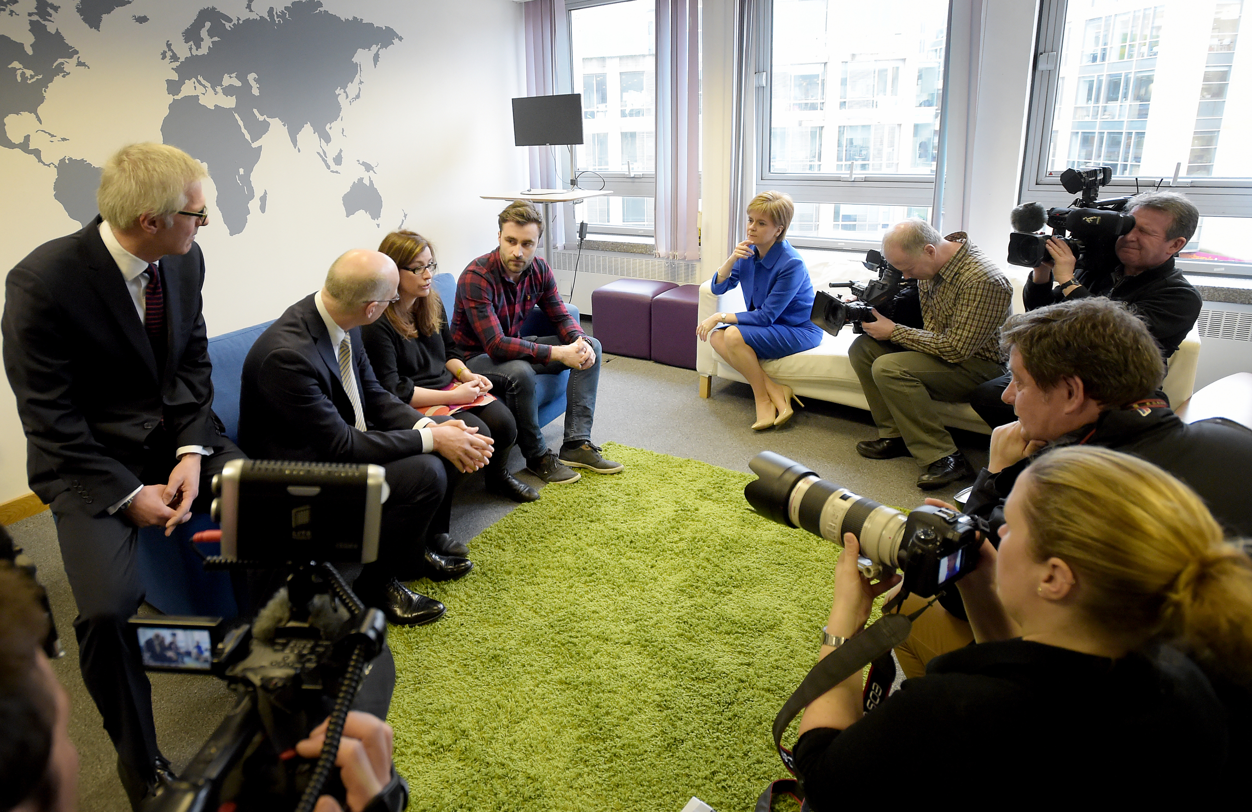 Michael Groves (Topolytics), Jude Cook (ShareIn) and Eddie Robb (Make It Social) with FM Nicola Sturgeon and DFM John Swinney