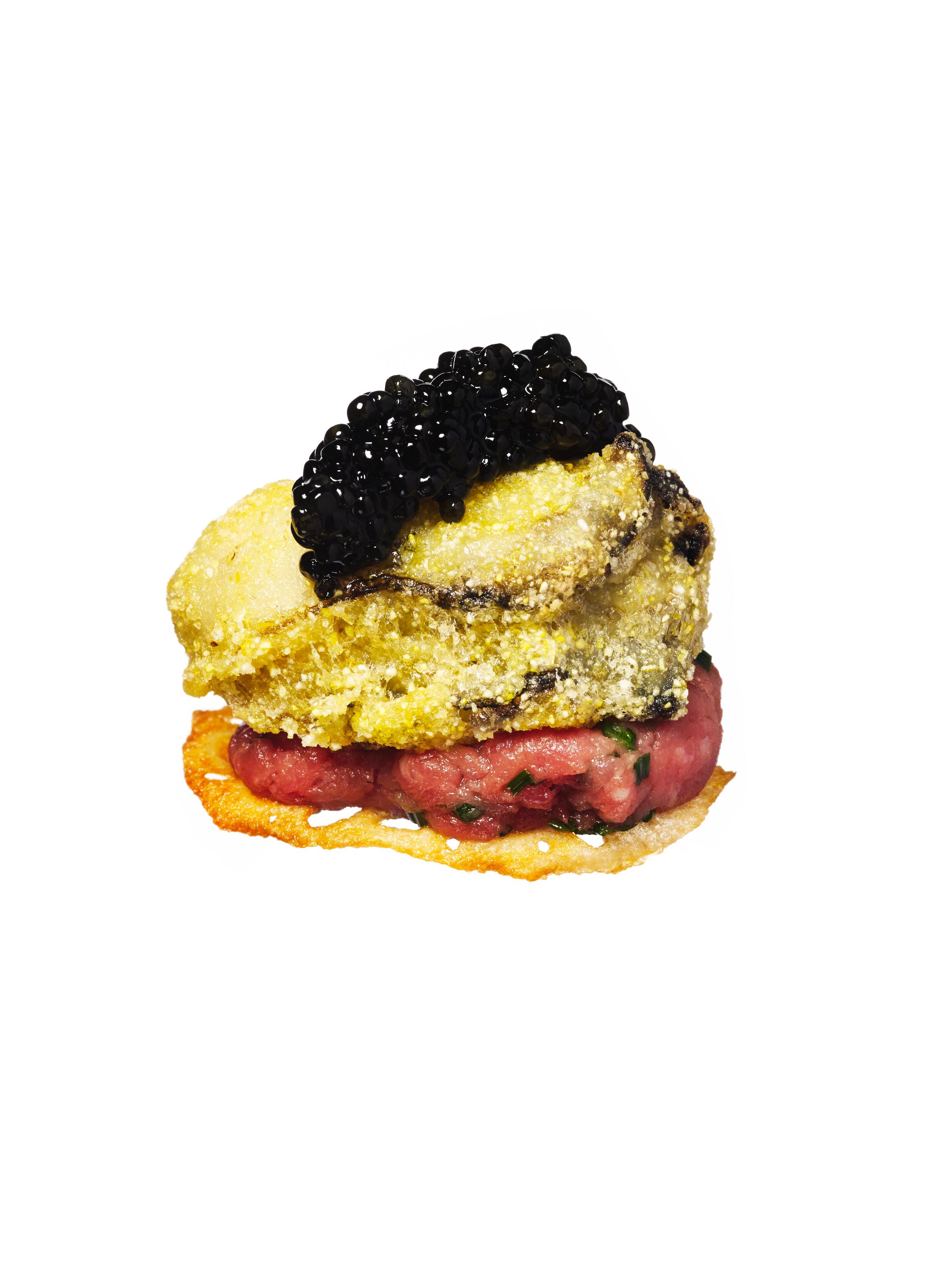steak tartar + oyster + caviar canapés