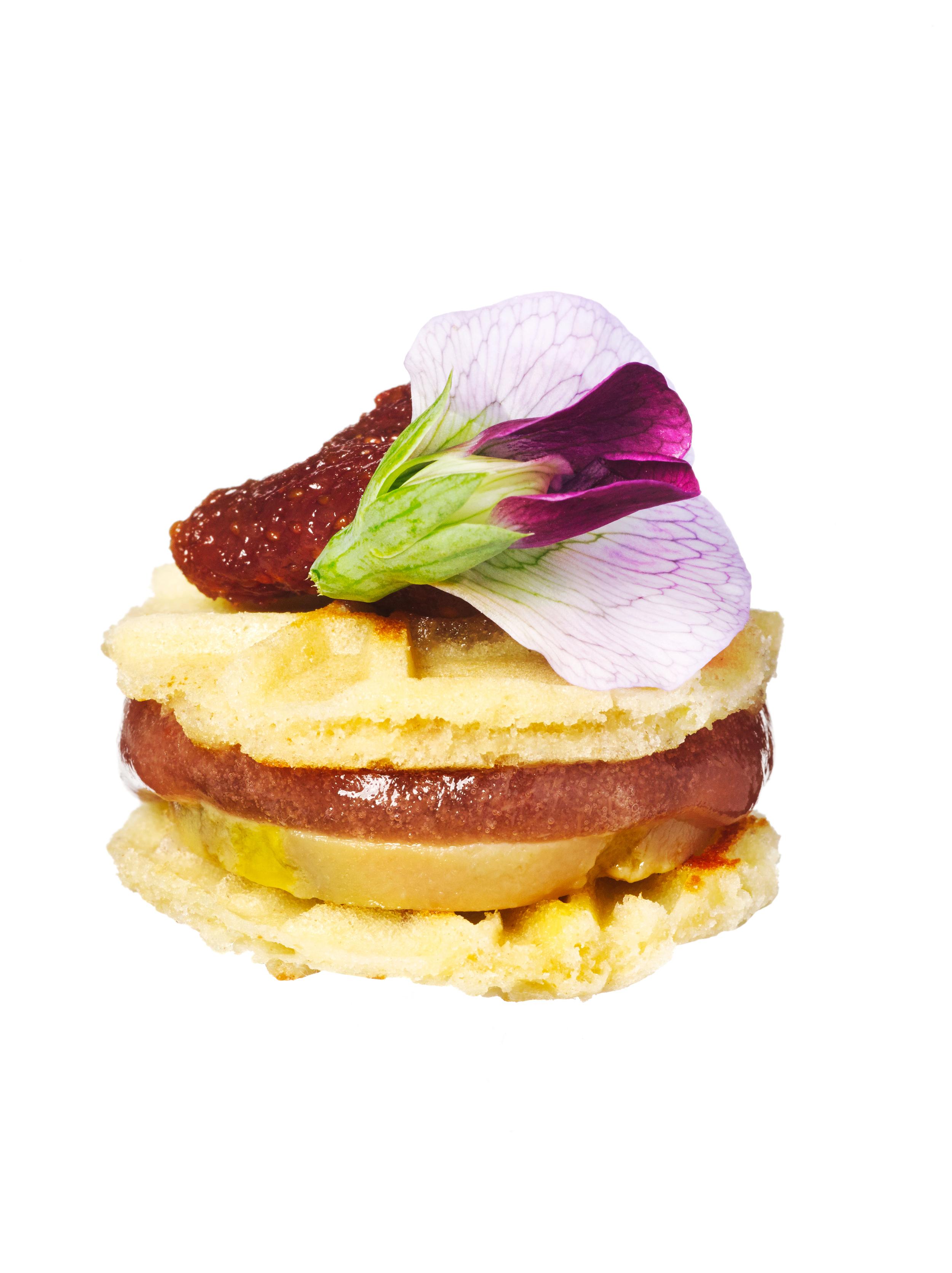 waffles + berries petit fours
