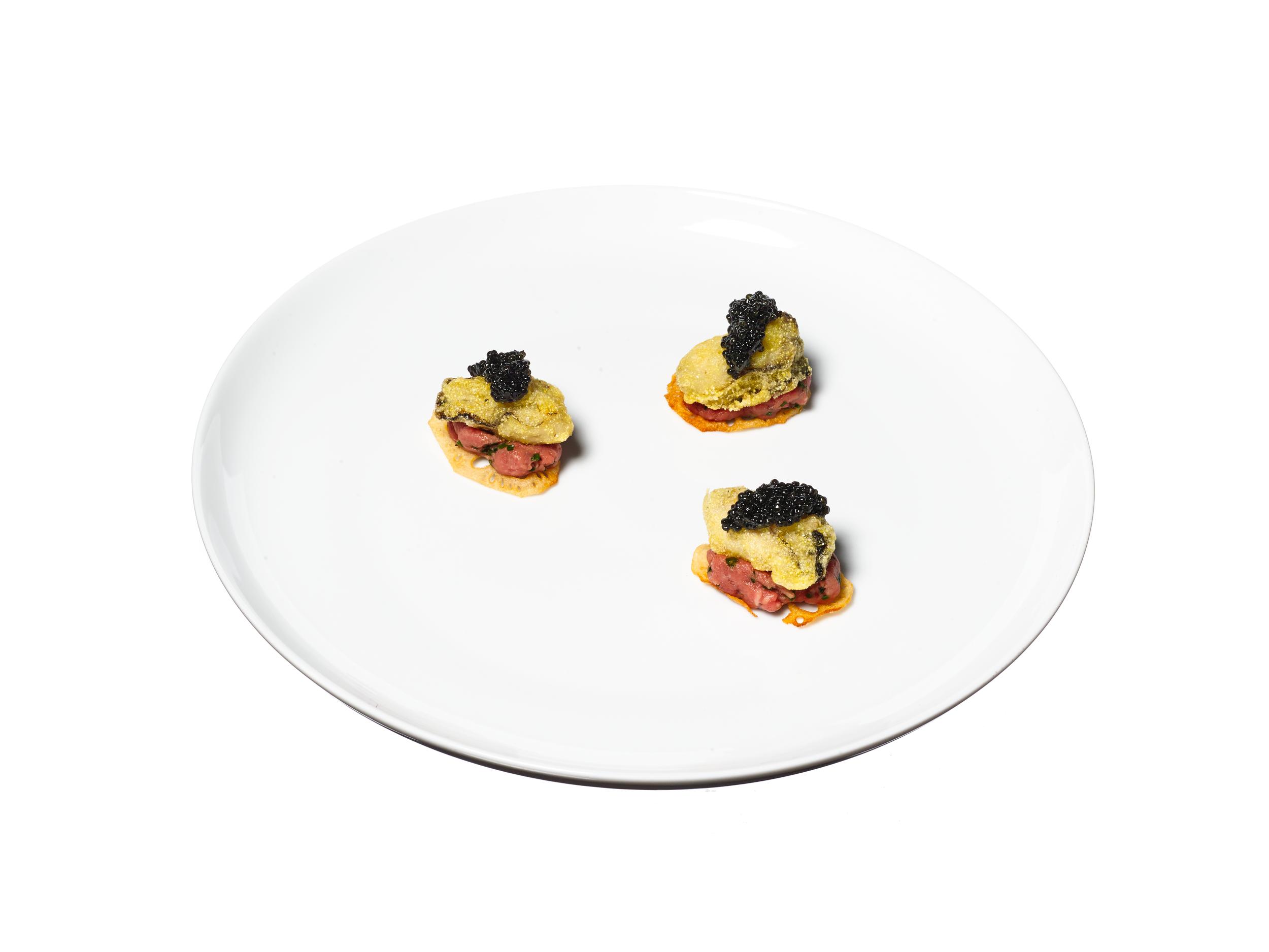 crispy oysters + steak tartare + caviar, plated canapés