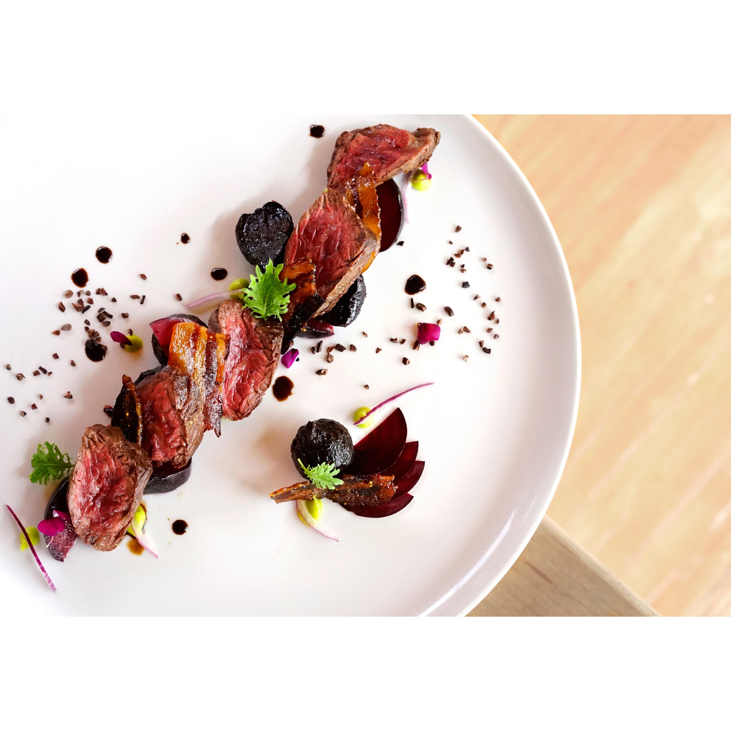 hangar steak + roast beets